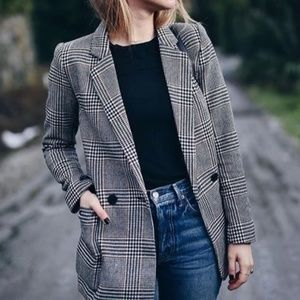 Grey Houndstooth Plaid Blazer